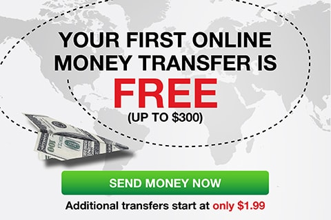 Your first online money transfer is FREE!