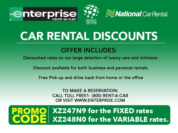 Discount coupons for enterprise car rentals