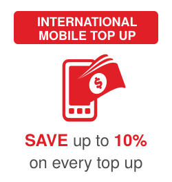 International mobile top up: Save up to 10% on every top up